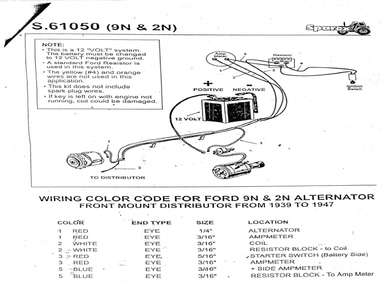 Ford 8n Distributor Diagram : Ford n tractor wiring diagram parts and diagrams